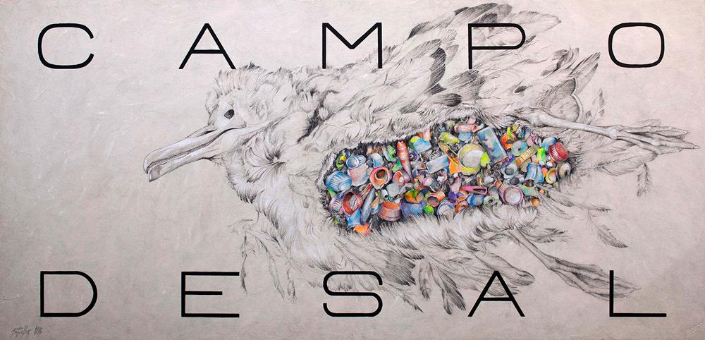 CAMPO DE SAL - Grafíto, Tiza, Lp, Col y Acril/Tb - 60,5x125 cm - 2018 - Gata de Gorgos.