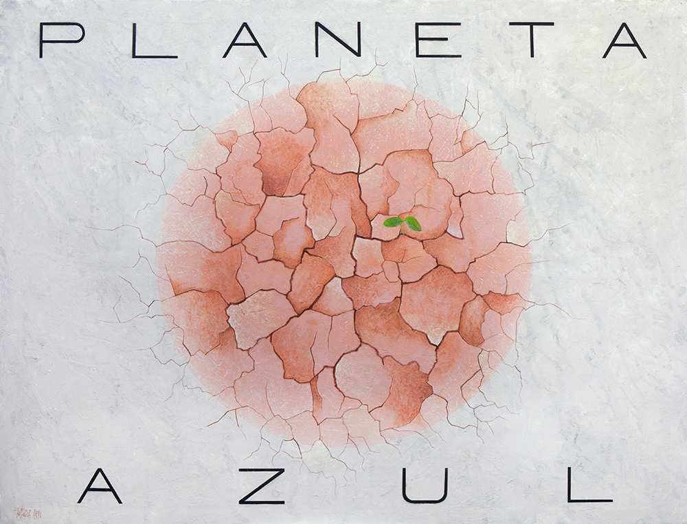 PLANETA AZUL - Mx y Pasta acrílica/Lz - 120x154 cm - 2018 - Gta de Gorgos.