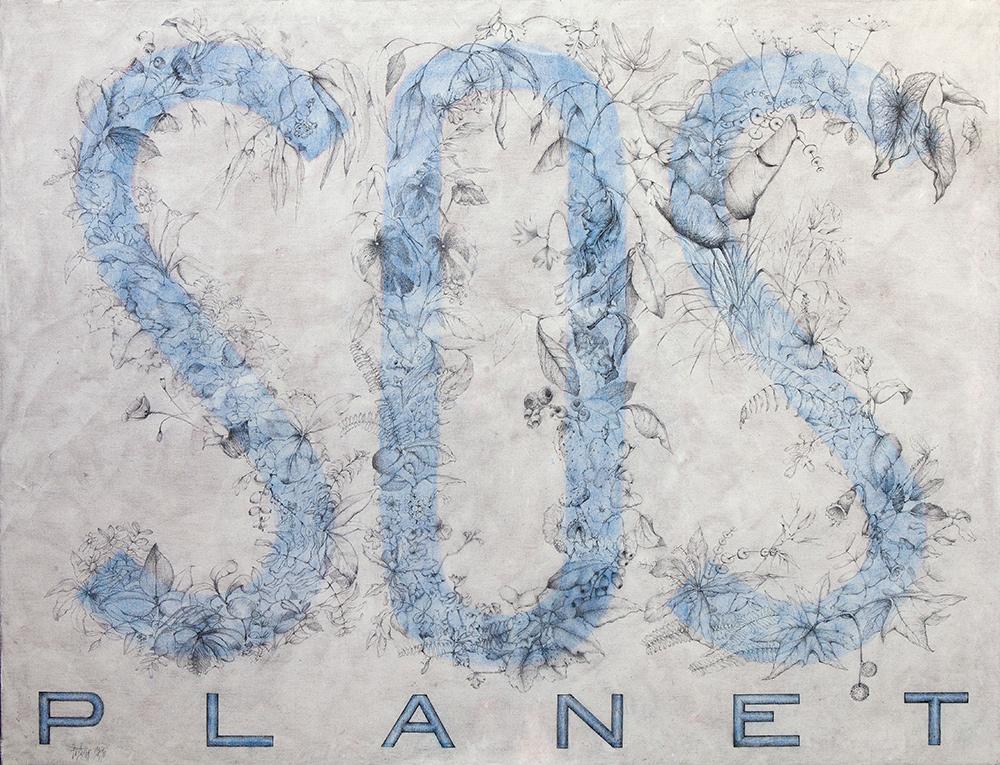 S.O.S. PLANET - Grafíto/Lp, Col y Pasta acrílica/Lz - 120x154 cm - 2018 - Gata de Gorgos.