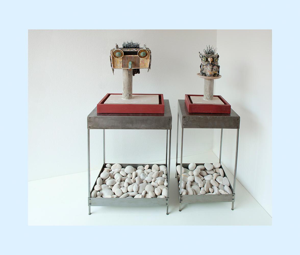 ESPECIE PROTEGIDA F PEDESTALES - 80x58x40 cm - 80x42x38 cm - Estructura metálica - Serie Animalario - Proyecto S.O.S.tenible - 2012 - Gata de Gorgos.