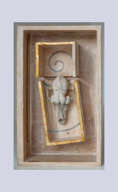 SECCION DORADA A - 44,3x26,7x11,7 cm - Reciclaje y Ensamblado - Serie Poemas Visuales - Proyecto S.O.S.tenible - 2012 - Gata de Gorgos.