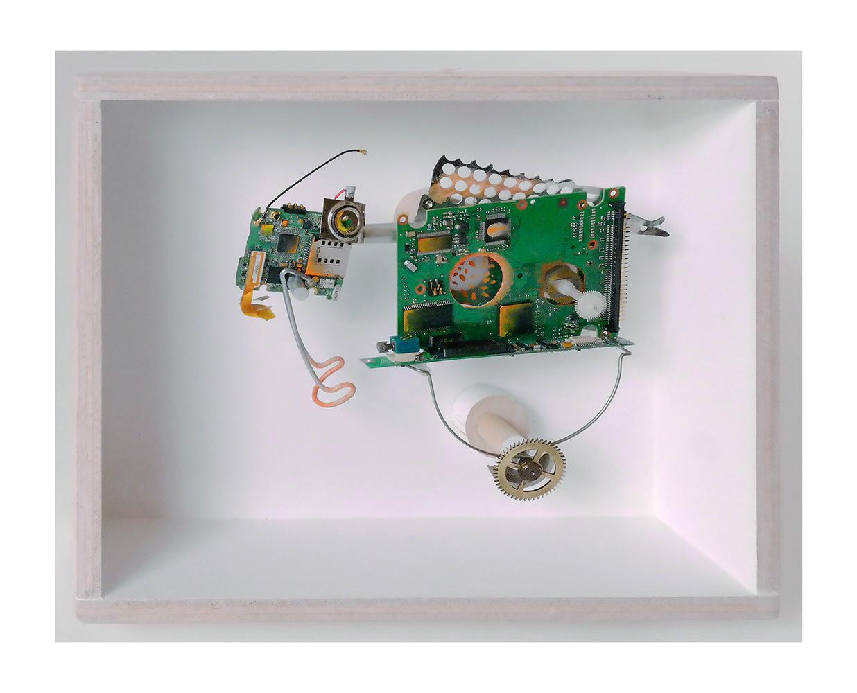 """ANIMAL DE CARGA B - 21'5x27'3x9 cm - Reciclaje y ensamblado - Serie Animalario - Proyecto S.O.S.tenible - Políptico """"Robotifauna"""" de 9 piezas - 2017 - Gata de Gorgos."""
