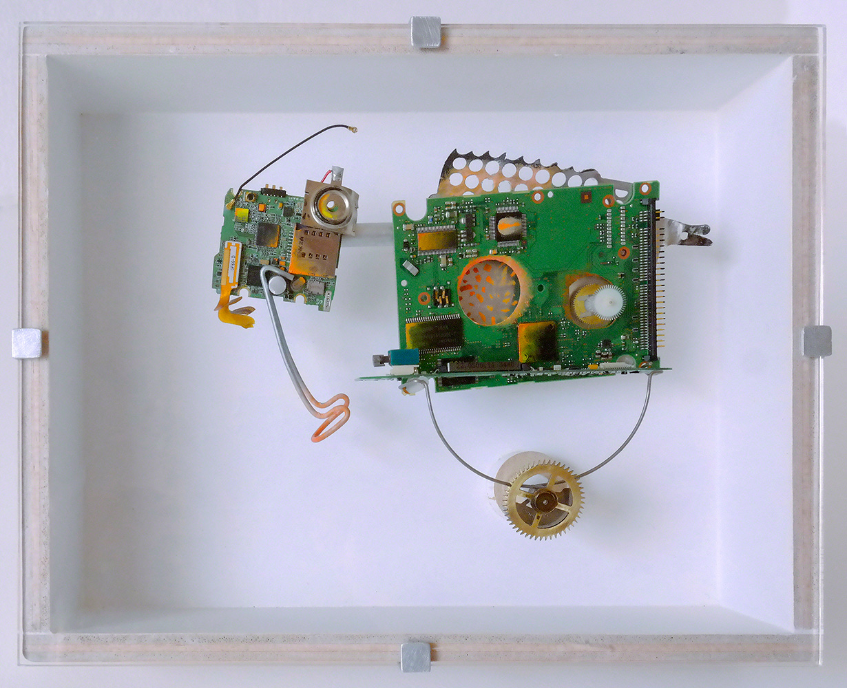 """ANIMAL DE CARGA C - 21'5x27'3x9 cm - Reciclaje y ensamblado - Serie Animalario - Proyecto S.O.S.tenible - Políptico """"Robotifauna"""" de 9 piezas - 2017 - Gata de Gorgos."""