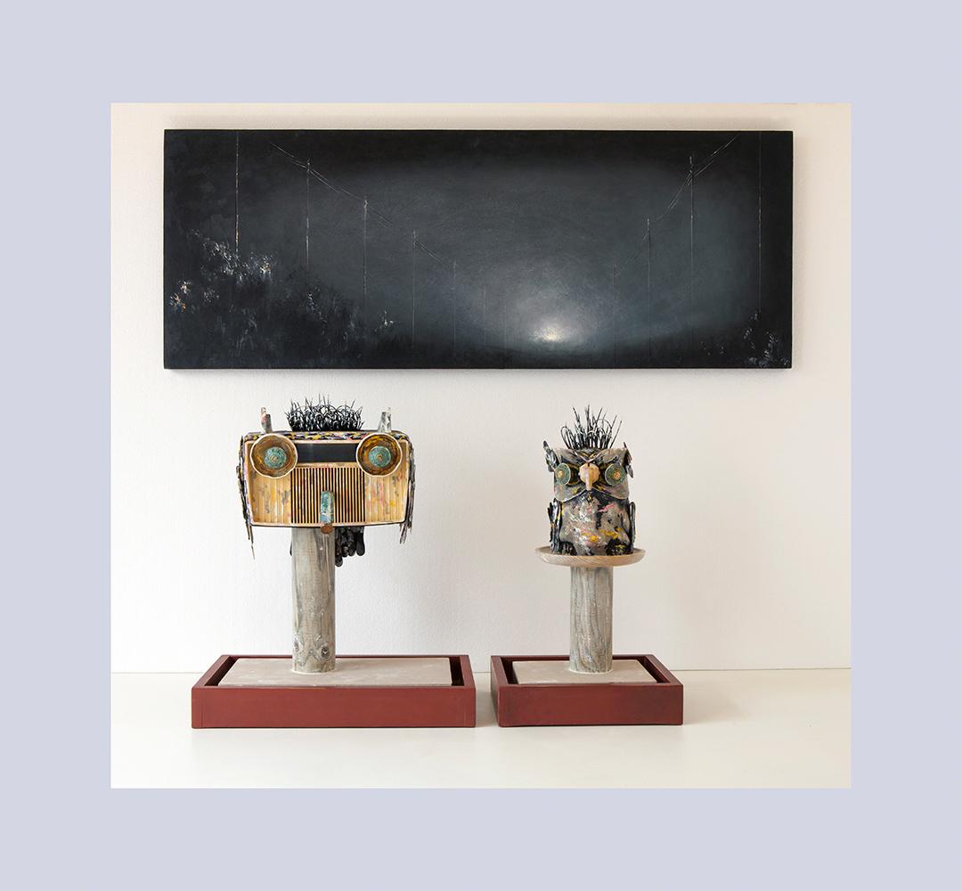 ESPECIE PROTEGIDA A -  49x130 cm - Buho 1º 58x47,5x27,3 cm - Buho 2º 55x31,6x27,3 cm - Oleo Reciclaje y ensamblado - Serie Animalario - Proyecto S.O.S.tenible - 2012 - Gata de Gorgos.