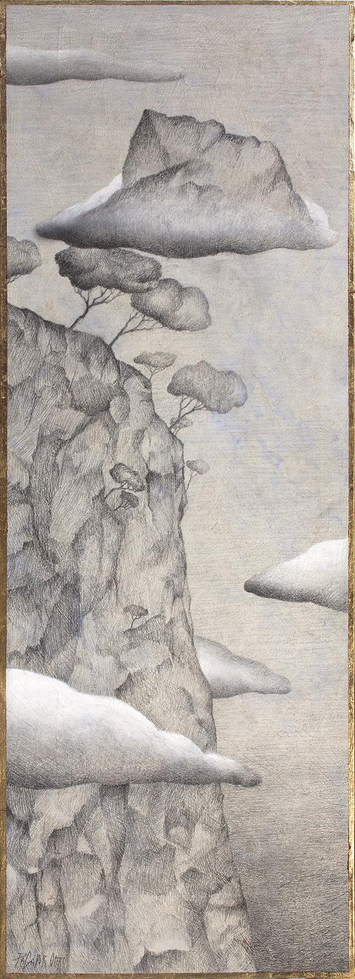 """FRENTE NUBOSO""  Grafito y Tiza S/Tabla  82,5x29,5 cm. 2020 Gata de Gorgos"