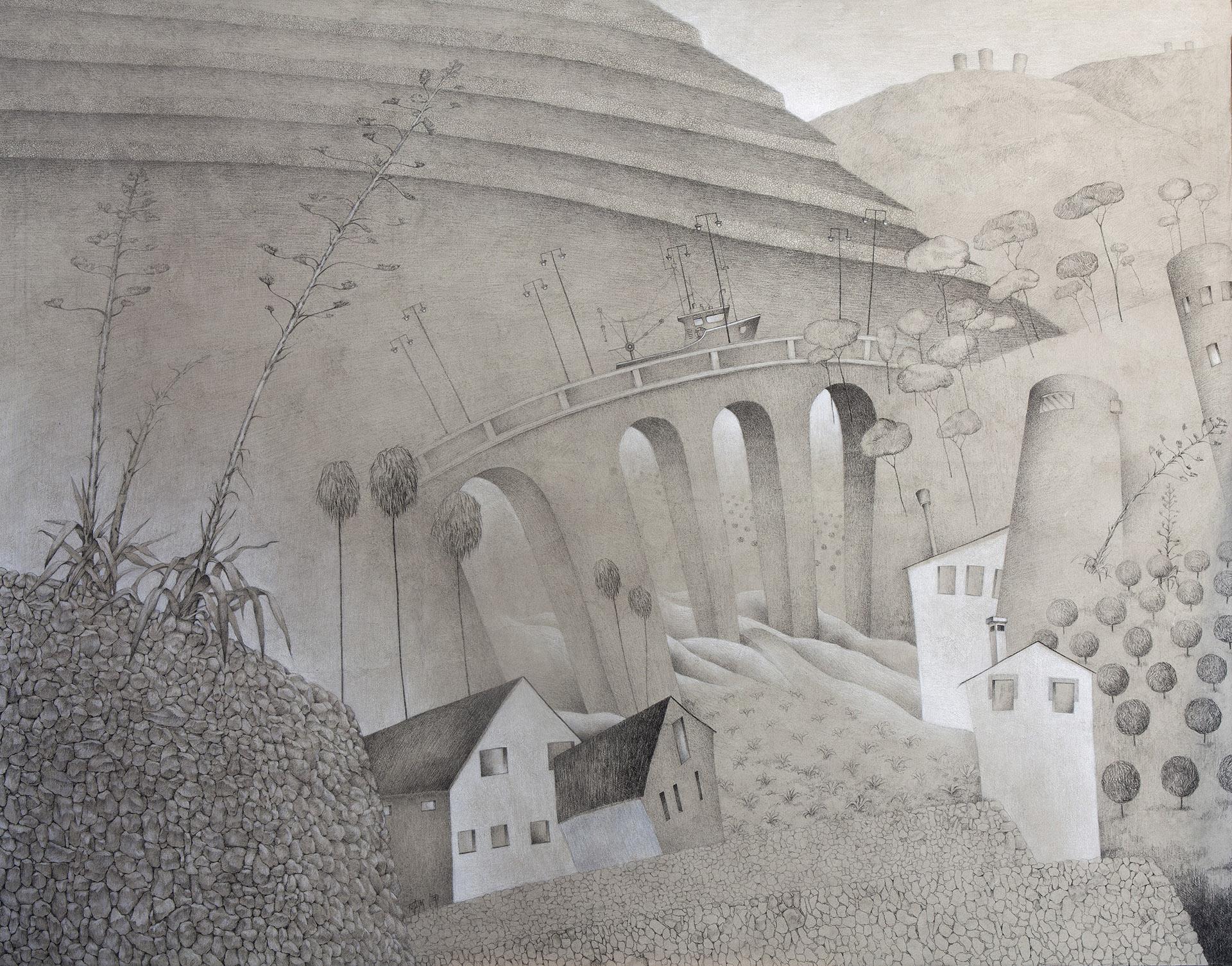 """MARINA ALTA III""  Grafito y Tiza S/Lienzo  120x154 cm. 2019 Gata de Gorgos"
