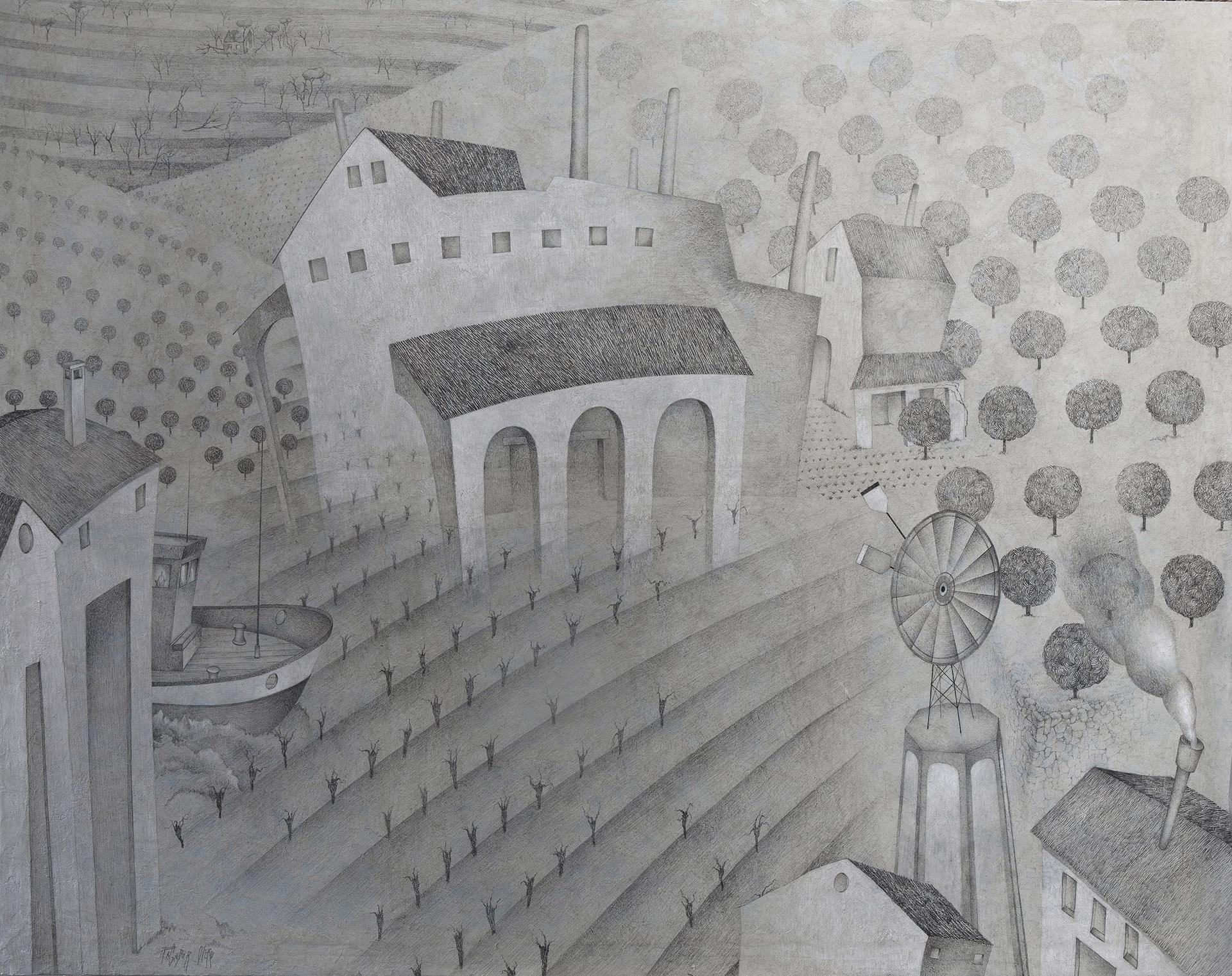 """MARINA ALTA IV""  Grafito y Tiza S/Lienzo  120x154 cm. 2019 Gata de Gorgos"