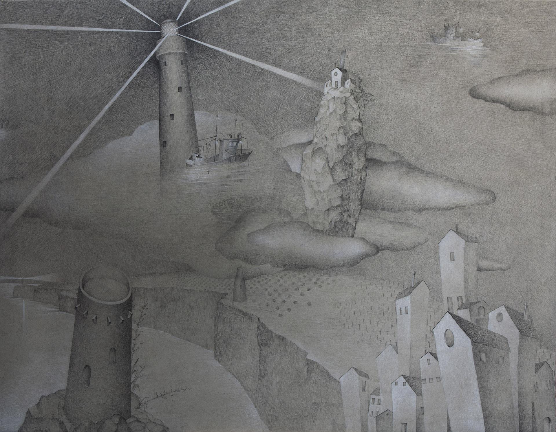 """MARINA ALTA V""  Grafito y Tiza S/Lienzo  154x120 cm. 2020 Gata de Gorgos"