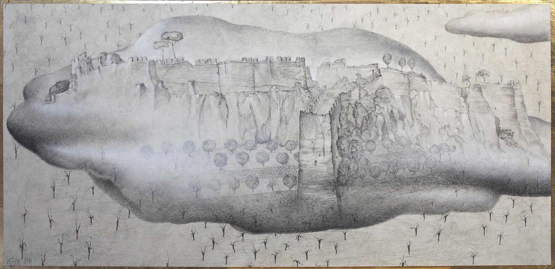 """""""NUBE DE VERANO""""  Grafito y Tiza S/Tabla  60x125 cm. 2020 Gata de Gorgos"""