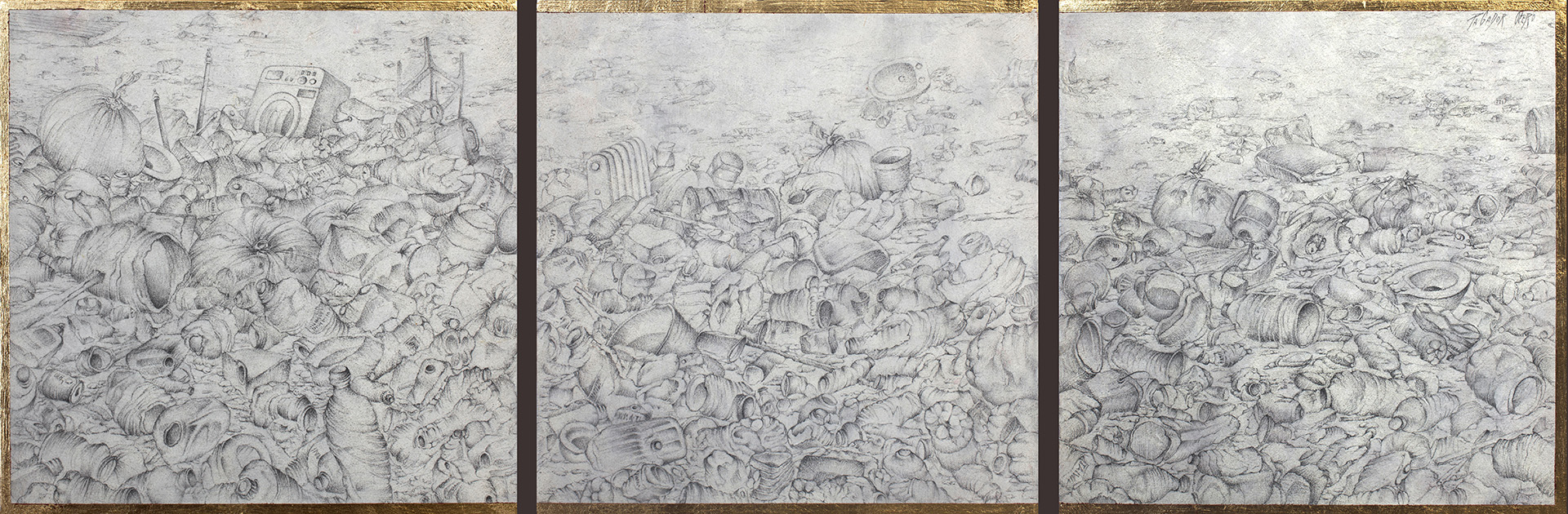 """PAISAJE ROTO""  Grafito S/Tabla  28,4x88,3 cm. Triptico 2020 Gata de Gorgos"