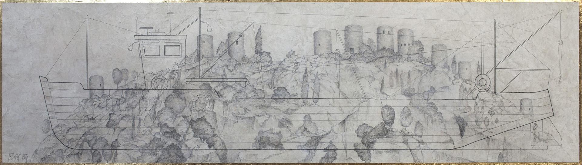 """""""TIERRA MARINERA""""  Grafito y Tiza S/Tabla  35x125 cm. 2020 Gata de Gorgos"""